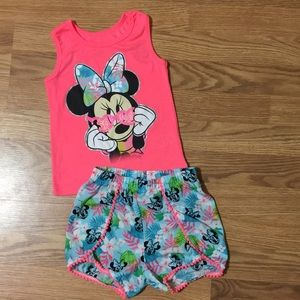 Disney matching tank top and short set size 5T